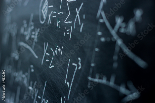 Photo Maths formulas on chalkboard background