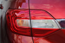 Close Up Of Red Rear Light Red Car