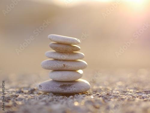 Acrylic Prints Stones in Sand pepple balance beach