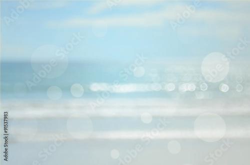 Printed kitchen splashbacks Light blue Blur beach with bokeh wave abstract background.