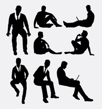 Man Sitting Silhouettes. Good Use For Symbol, Logo, Web Icons, Or Any Design You Want.