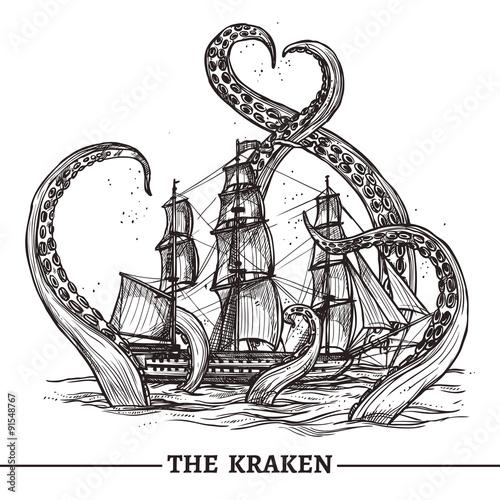 Ship And Octopus Billede på lærred
