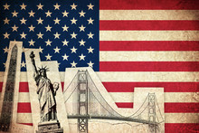 Grunge Flag Of USA With Monume...