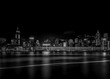 Hong Kong cityscape black and white Tone