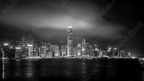 Photo  Hong Kong cityscape black and white Tone
