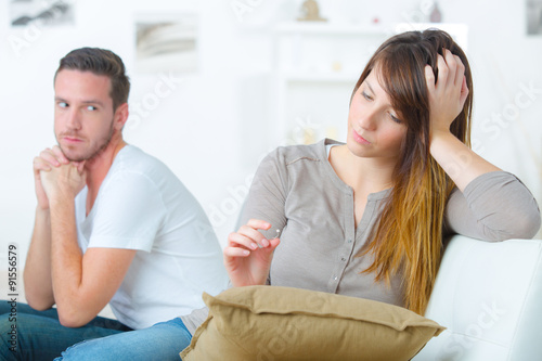 Couple not speaking to each other Tablou Canvas