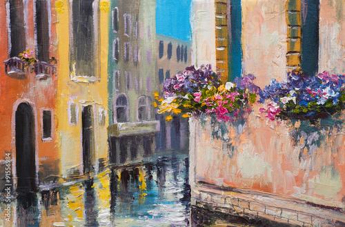 kolorowy-obraz-olejny-dachy-domow-europejska-ulica-impresjonizm-artystyczny