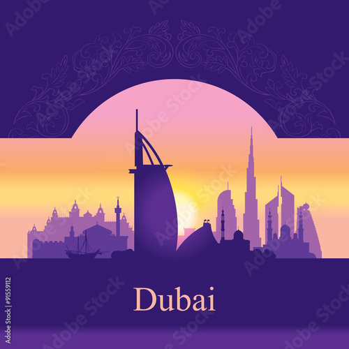 Photo  Dubai skyline silhouette on sunset background