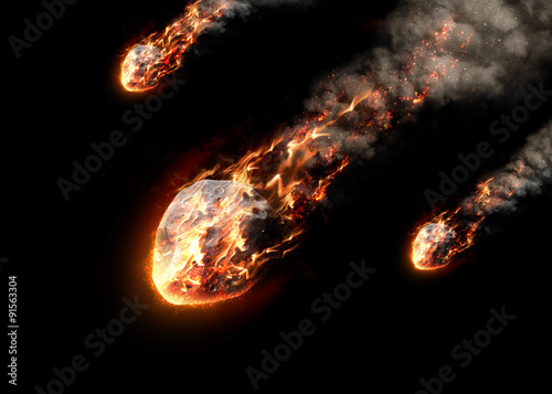 Obraz Meteor glowing as it enters the Earth's atmosphere - fototapety do salonu