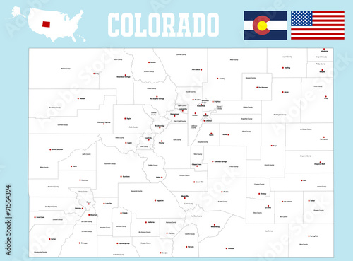 Photo  A large and detailed map of the State of Colorado with all counties and county s