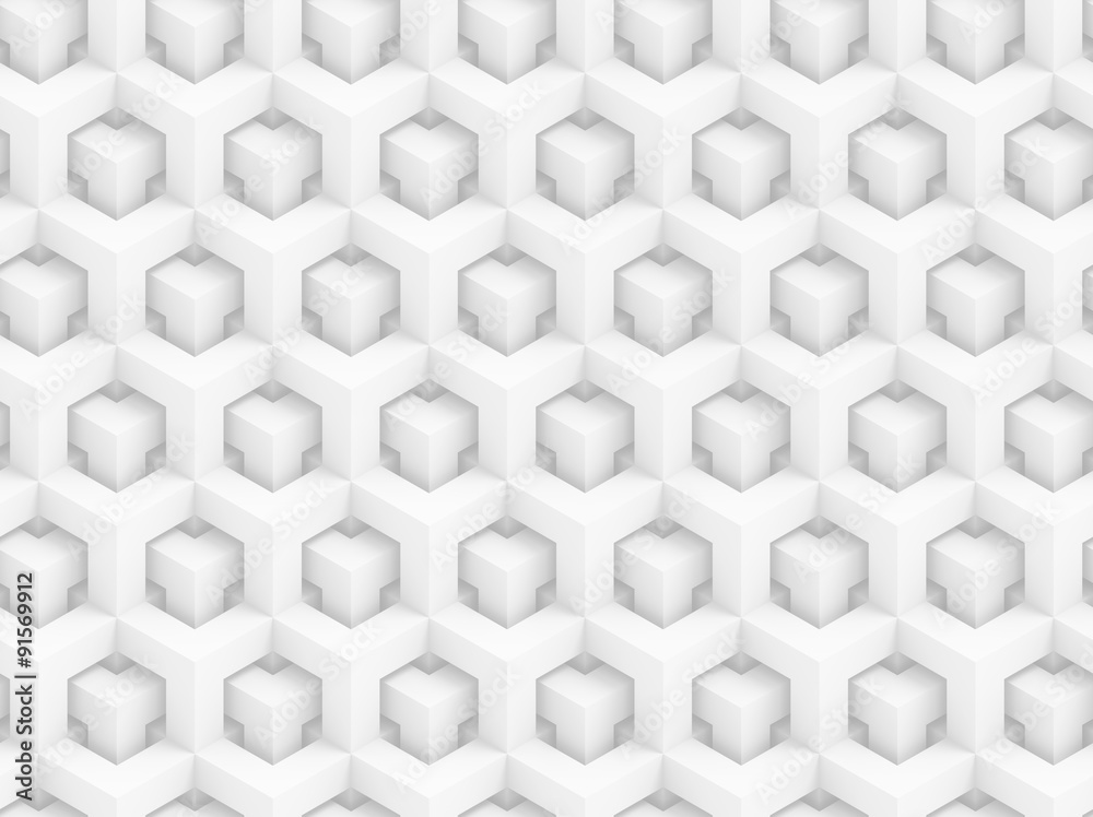 Abstract white polygonal 3D seamless pattern - geometric box structure background