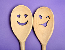 Lovely Wooden Spoon On Background