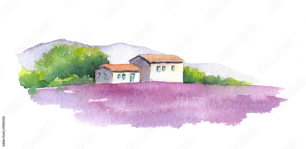 Fototapety, obrazy: Lavender field and rural house in Provence, France. Watercolor