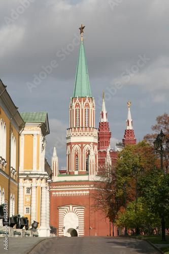 Fototapety, obrazy: St. Nicholas (Nikolskaya) Tower in Moskow Kremlin. Moscow, Russia