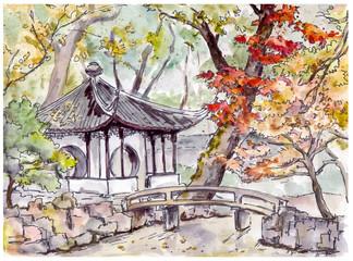 Fototapeta Orientalny Chinese garden with bridge and pagoda pavilion in Suzhou , China