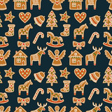 Seamless pattern with Christmas gingerbread cookies - xmas tree, candy cane, angel, bell, sock, gingerbread men, star, heart, deer, rocking horse. Winter holiday vector design xmas background.