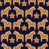 Seamless pattern with Christmas gingerbread cookies - xmas star and horse. Winter holiday vector design xmas background.