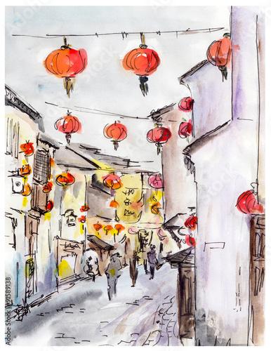 stara-grodzka-ulica-w-chiny-tradycyjni-chinskie-czerwoni-lampiony