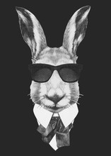 Portrait Of Hare In Suit. Hand...