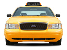 Yellow Taxi Car Front View Isolated On White Background.