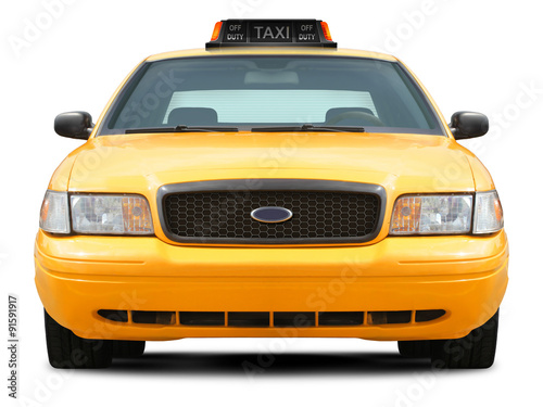 Yellow taxi car front view isolated on white background. Tableau sur Toile