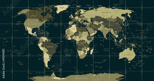 Photo sur Toile Carte du monde Detailed World Map in camouflage colors with a square grid
