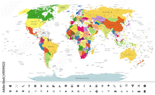 Recess Fitting World Map Political World Map with navigation icons