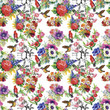 Watercolor Wild exotic birds on flowers seamless pattern on