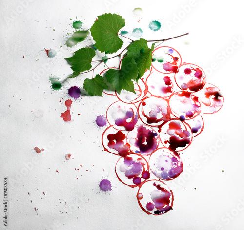 Fototapeta Grapes painted with red wine and cork obraz na płótnie