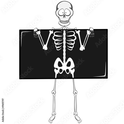Skeleton Buddy - A funny skeleton mascot is holding an x-ray
