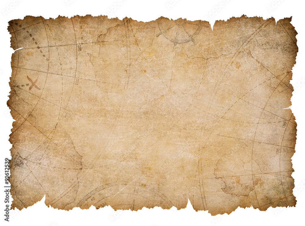 Fototapeta old nautical treasure map with torn edges isolated