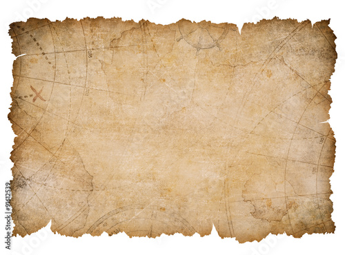 Fotografie, Obraz  old nautical treasure map with torn edges isolated