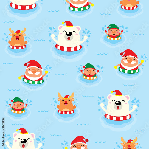 Cotton fabric Christmas Seamless Swimming Santa Claus