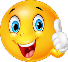 Happy Emoticon Giving Thumb Up...