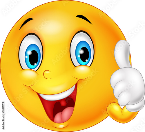 Photographie Happy emoticon giving thumb up isolated on white background