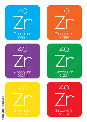 Fotografia, Obraz  Informative Illustration of the Periodic Element - Zirconium