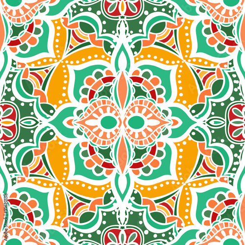 Poster Moroccan Tiles Seamless Floral Pattern