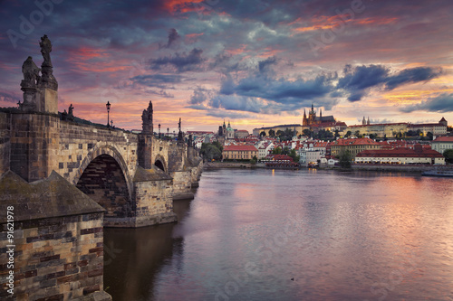 Photo Stands Prague Prague. Image of Prague, capital city of Czech Republic, during beautiful sunset.