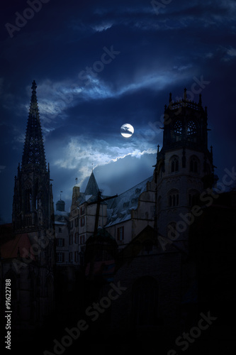 Recess Fitting Castle Mysterious medieval castle and the cathedral church at night