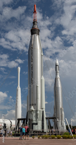 Deurstickers Nasa Rocket garden at Cape Canaveral, Kennedy Space Center with blue cloudy sky background. Elements of this image furnished by NASA