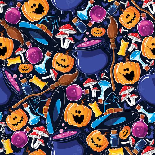 Cotton fabric Seamless pattern Halloween