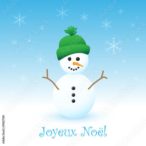 Carte Joyeux Noël avec Bonhomme de Neige   Buy this stock vector