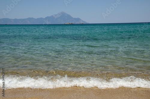 Fotografie, Obraz  Aegean sea and mountain Athos