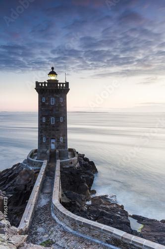 Foto op Plexiglas Vuurtoren Kermorvan Leuchtturm in der Bretagne