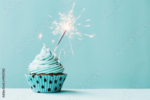 Cupcake with sparkler Wallpaper Mural