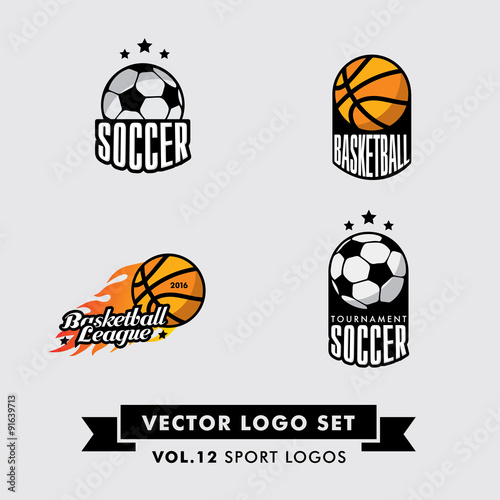 Retro Vintage Hipster Sport Vector Logo Set.  Soccer, football, basketball. - 91639713