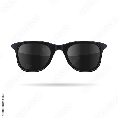 Sunglasses with Black Glasses on White Background. Vector Wall mural