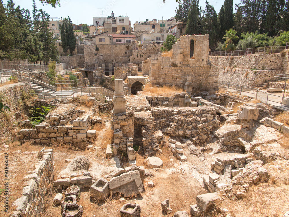 Photo  Ancient Pool of Bethesda ruins. Old City of Jerusalem