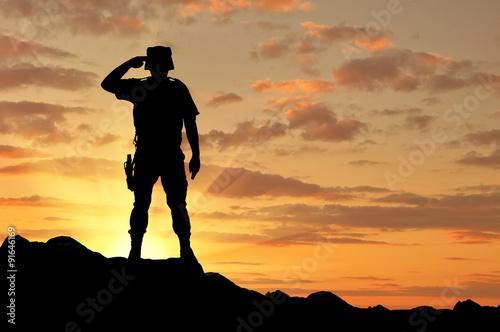 Fotografia  Silhouette of a soldier salutes
