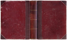 Old Open Book In Simple Crimson Red Canvas And Paper Cover With Golden Decorations - Circa 1900 - Interesting Details!